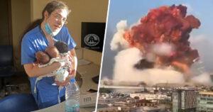 """""""E un înger!"""" Asistenta libaneză care a salvat trei bebeluși din explozie. POZA CARE A DEVENIT VIRALĂ"""