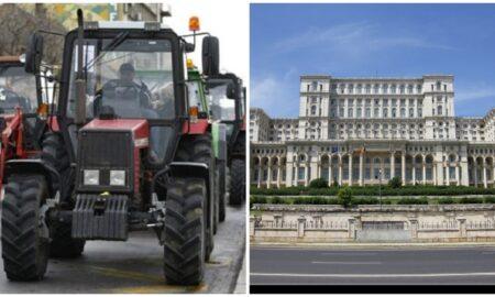"""Protest cu tractoare la Palatul Parlamentului: """"Agricultura este lovită din toate părțile! Guvernanților, cu ce v-au greșit fermierii?"""""""