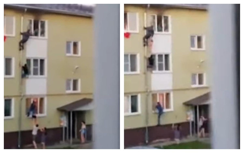 Gest salvator pentru 3 copii aflați într-un apartament în flăcări. Lanț uman