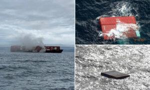 Video. Navă în flăcări, cu încărcătură periculoasă, în Columbia Britanică. Sunt temeri de un dezastru ecologic